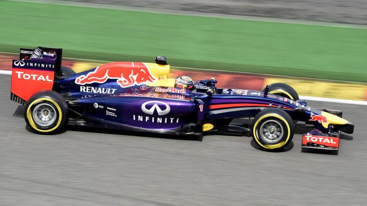 Vettel drives the track during a practice session at the Belgian F1 Grand Prix in Spa-Francorchamps