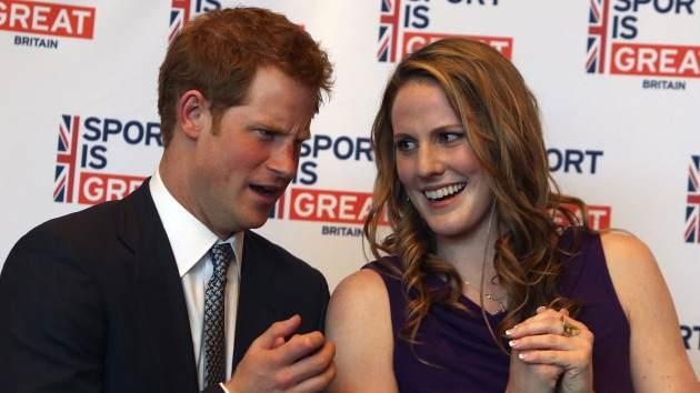 Prince Harry chats with Missy Franklin at a reception at the Sanctuary Golf Course on May 10, 2013 in Sedalia, Colorado -- Getty Images