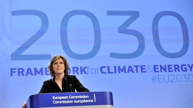 EU commissioner for Climate Action Connie Hedegaard gives a  press conference to unveil the 2030 climate change package on January 22, 2014 in Brussels