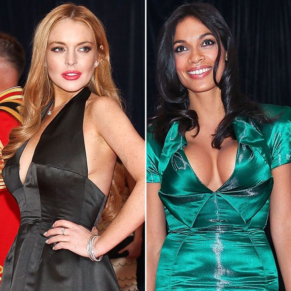 Lindsay Lohan & Rosario Dawson: White House Cleavage Battle