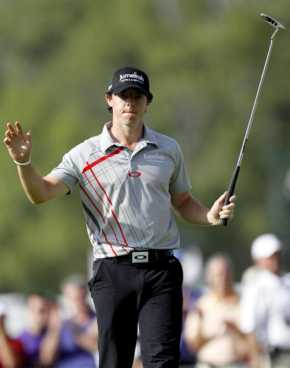Rory McIlroy, of Northern Ireland, reacts after his birdie on the 16th hole during the BMW Championship PGA golf tournament at Crooked Stick Golf Club in Carmel, Ind., Sunday, Sept. 9, 2012. McIlroy won the event. (AP Photo/Charles Rex Arbogast)