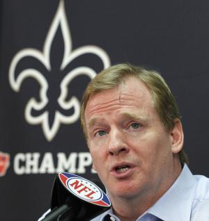 FILE - This Aug. 2, 2010 file photo shows NFL commissioner Roger Goodell speaking during a news conference at the New Orleans Saints' football training facility in Metairie, La. The appeals hearing for four players suspended by NFL Commissioner Roger Goodell for their role in the Saints bounty program has begun. On hand at NFL headquarters Monday, June 18, 2012,  are all four players: Saints linebacker Jonathan Vilma, who is suspended for the 2012 season, and defensive end Will Smith, who has been docked for four games; Green Bay defensive end Anthony Hargrove, suspended for eight games; and Cleveland linebacker Scott Fujita (three games). (AP Photo/Gerald Herbert, File)
