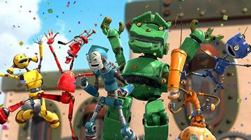 Piper Pinwheel (voiced by Amanda Bynes ), Fender (voiced by Robin Williams ), Rodney Copperbottom (voiced by Ewan McGregor ), Lug (voiced by Harlan Williams) and Crank (voiced by Drew Carey ) in 20th Century Fox's Robots