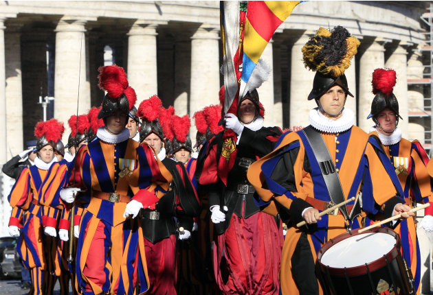 Swiss Guards attend a commemoration ceremony for the anniversary of the 1527 Sack of Rome, at the Vatican, Saturday, May 5, 2012. The ceremony is held each year to commemorate the 147 Swiss Guards who