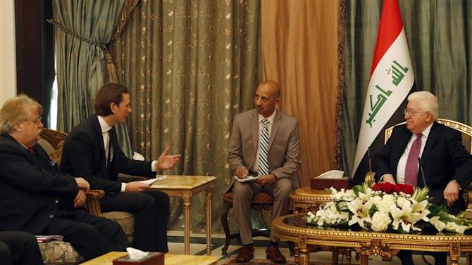 APA22208698. Bagdad (Iraq), 01/02/2015.- A handout picture provided by the Austrian Foreign Ministry shows Austrian Foreign Minister Sebastian Kurz (2-L) meeting with Iraqi President Fuad Masum (R) in Bagdad, Iraq, 01 February 2015. Kurz is on an official visit to Iraq. EFE/EPA/DRAGAN TATIC/AUSTRIAN FOREIGN MINISTRY/HANDOUT HANDOUT EDITORIAL USE ONLY/NO SALES