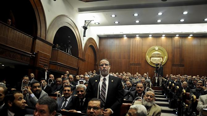 FILE - In this Wednesday, Dec. 26, 2012 file photo, Essam el-Erian vice chairman of the Freedom And Justice party, speaks during a session at the Shura Council building in Cairo, Egypt. A leading Muslim Brotherhood member and advisor to Islamist President Mohammed Morsi created a stir in Egypt when he called on Egyptian Jews living in Israel to return home because the Jewish state won't survive. The TV remarks of Essam el-Erian, a prominent Brotherhood member often jailed under the previous regime of Hosni Mubarak, put his Islamist group, now in power, on the spot on many fronts as detractors of the group, and in one incident allies, seized on the comments to criticize the group. (AP Photo/Mohammed Asad, File)