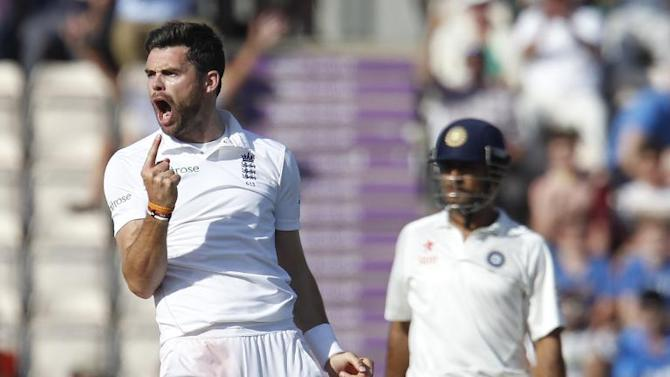 England's James Anderson celebrates taking the wicket of India's Ravindra Jadeja in the third cricket Test match between England and India at The Ageas Bowl cricket ground in Southampton on July 29, 2014