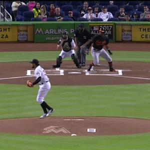 Bour's slick double play