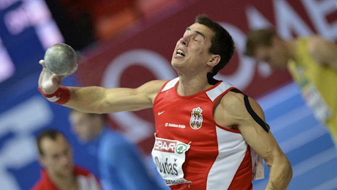 Serbia's Mihail Dudas competes in shot put at the men's heptathlon during the Athletics Indoors European Championships in Gothenburg, Sweden, Saturday, March 2, 2013. (AP Photo/Martin Meissner)