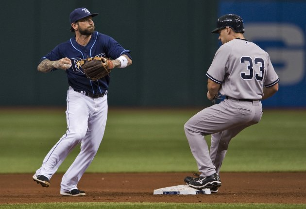 Tampa Bay Rays' Roberts hesitates to throw around New York Yankees baserunner Hafner during MLB American League baseball game in St. Petersburg