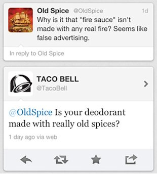 14 Ways to Establish Brand Personality on Social Media image old spice vs taco bell twitter