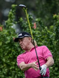 Spanish veteran Miguel Angel Jimenez, pictured here on November 16, triumphed at the $2 million UBS Hong Kong Open on Sunday for a third time -- at the tender age of 48 years old