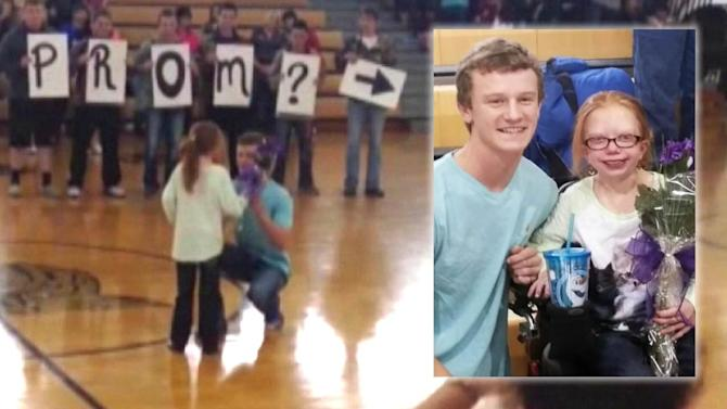 Football star amazes teen with growth disorder with surprise prom-posal