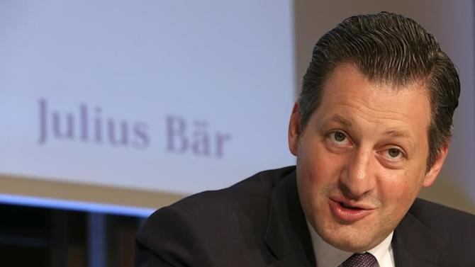 Chief Executive Collardi of Swiss private bank Julius Baer addresses a news conference in Zurich