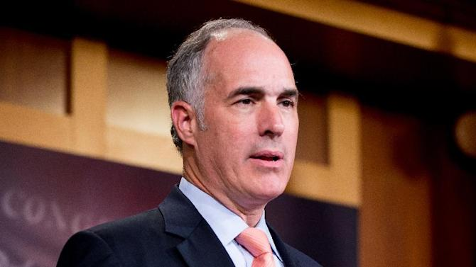 In this photo taken July 26, 2015, Sen. Bob Casey, D-Pa. speaks during a news conference on Capitol Hill in Washington. Supporters of the Iran nuclear deal are on the cusp of clinching the necessary Senate votes to keep the contested agreement alive and hand President Barack Obama a major foreign policy victory in spite of furious opposition. Democrats Casey and Chris Coons of Delaware on Tuesday became the 32nd and 33rd senators to announce support for the deal, just one shy of the 34 votes needed to uphold an Obama veto of GOP legislation aimed at blocking it. (AP Photo/Andrew Harnik)