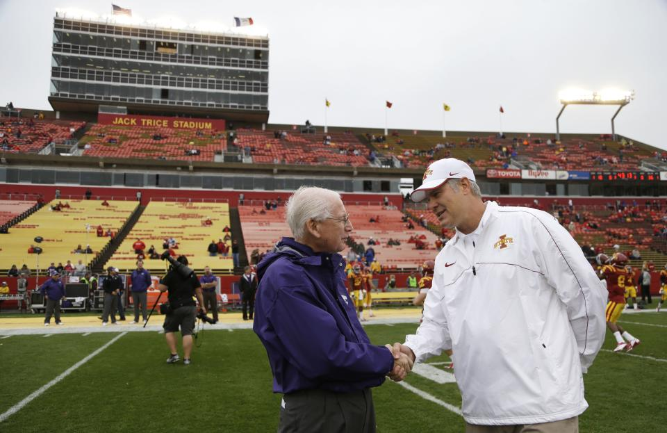 Kansas State head coach Bill Snyder, left, greets Iowa State head coach Paul Rhoads before an NCAA college football game, Saturday, Oct. 13, 2012, in Ames, Iowa. (AP Photo/Charlie Neibergall)