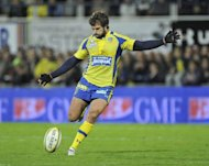 Clermont's Australian fly-half Brock James kicks during their French Top 14 rugby union match against Stade Francais at Marcel Michelin stadium in Clermont-Ferrand, central France. Clermont won 28-25