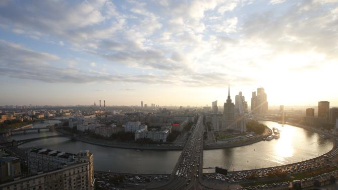 Aerial view shows the capital Moscow
