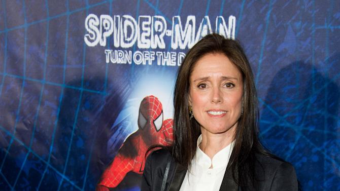 """FILE - In this June 14, 2011 file photo, Julie Taymor arrives at the opening night performance of the Broadway musical """"Spider-Man Turn Off the Dark"""" in New York. Taymor has filed a lawsuit against the producers of """"Spider-Man: Turn off the Dark,"""" alleging they violated her creative rights and haven't compensated her for the work she put into the musical. (AP Photo/Charles Sykes, file)"""