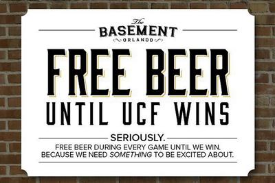 The bar giving away free beer until UCF wins is out of beer, now giving away free liquor