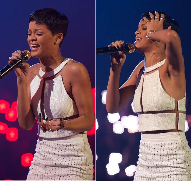 Rihanna gave an emotional X Factor performance on Sunday