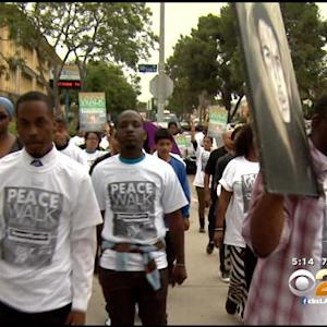 Rally Held In Crenshaw On Anniversary Of Zimmerman Verdict