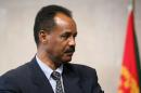 Eritrean President Issaias Afeworki seen at a press point at the end of a meeting on May 4, 2007 at EU headquarters in Brussels