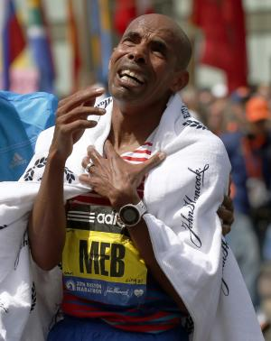 Marathon men's winner has names of victims on bib