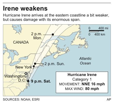 Map shows latest location of Hurricane Irene and its projected path.
