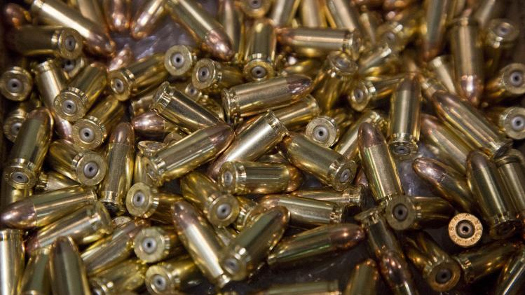 A box of 9mm bullets sits on display at the 35th annual SHOT Show, Tuesday, Jan. 15, 2013, in Las Vegas. The National Shooting Sports Foundation was focusing its trade show on products and services new to what it calls a $4.1 billion industry, with a nod to a raging national debate over assault weapons.   (AP Photo/Julie Jacobson)