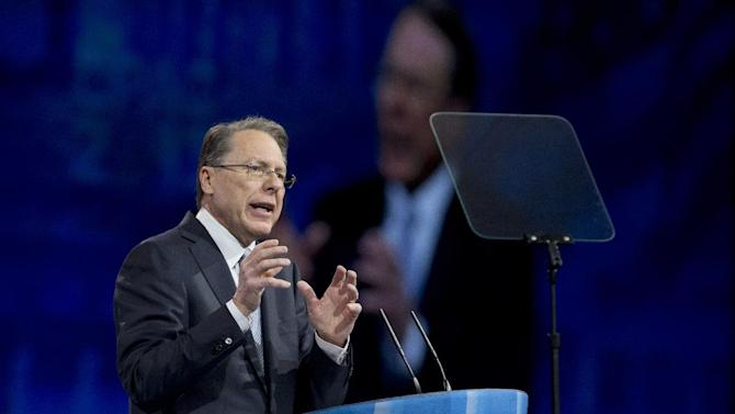 National Rifle Association (NRA) CEO Wayne LaPierre gestures as he speaks at the 40th annual Conservative Political Action Conference in National Harbor, Md., Friday, March 15, 2013.  (AP Photo/Manuel Balce Ceneta)