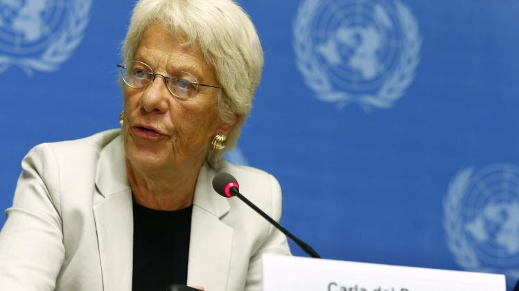 Carla del Ponte, member of Independent International Commission of Inquiry on Syrian Arab Republic, attends news conference at United Nations headquarters in Geneva