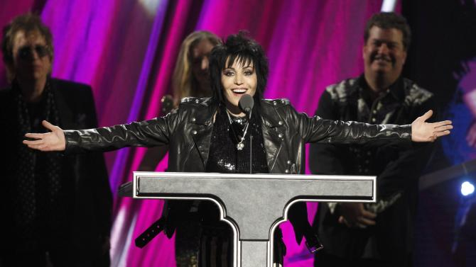 Joan Jett gives her acceptance speech after being inducted during the 2015 Rock and Roll Hall of Fame Induction Ceremony in Cleveland