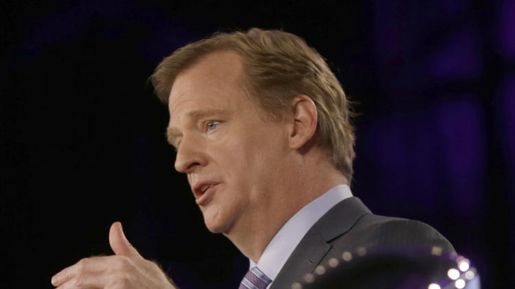 NFL Commissioner Roger Goodell answers questions during an NFL Super Bowl XLVII football game news conference at the New Orleans Convention Center, Friday, Feb. 1, 2013. in New Orleans. (AP Photo/Gerald Herbert)