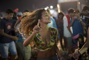 A Brazilian woman dances during the World Cup Fan Fest …