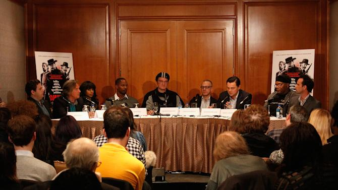 """Django Unchained"" Press Conference In NY With Director/Screenwriter Quentin Tarantino, Jamie Foxx, Christoph Waltz, Leonardo DiCaprio, Kerry Washington, Samuel L. Jackson, Walton Goggins, Don Johnson, And Jonah Hill"