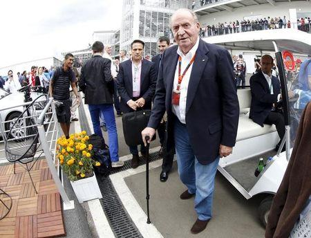 Spanish former King Juan Carlos arrives at the Mexican F1 Grand Prix at Autodromo Hermanos Rodriguez in Mexico City