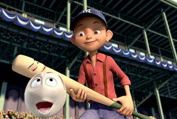 Yankee Irving (voiced by Jake T. Austin ) with Darlin' the bat (voiced by Whoopi Goldberg ) and Screwie the ball (voiced by Rob Reiner ) in 20th Century Fox's Everyone's Hero