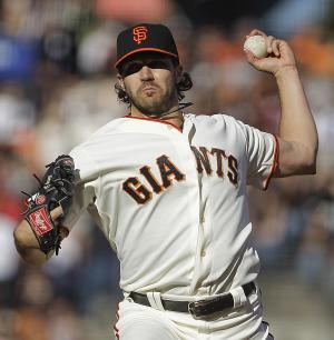 San Francisco Giants' Barry Zito works against the Los Angeles Dodgers in the first inning of a baseball game, Sunday, Sept. 9, 2012, in San Francisco. (AP Photo/Ben Margot)