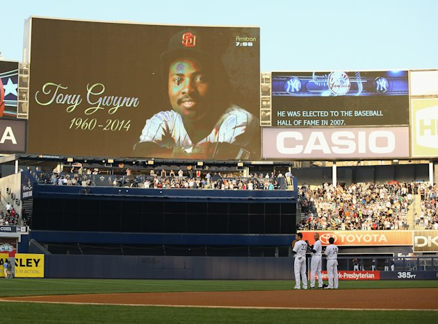 Yankees players honored Tony Gwynn on the field, but their club honored him in San Diego too. (Getty Images)