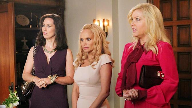 """In this undated image released by ABC, from left, Miriam Shor, Kristin Chenoweth and Jennifer Aspen are shown in a scene from the comedy series """"GCB,"""" airing Sundays at 10 p.m. EST on ABC. (AP Photo/ABC, Karen Neal)"""