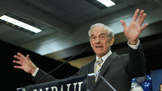 FILE - In this Feb. 11, 2012 file photo, Republican presidential candidate Rep. Ron Paul, R-Texas, speaks to his supporters following his loss in the Maine caucus to Mitt Romney, in Portland, Maine. Don't Paul the primary is over. He's too busy mucking up Mitt Romney's efforts to accumulate enough convention delegates to claim officially the Republican nomination for president. Paul's supporters won control of state GOP conventions in Maine and Nevada last weekend, stripping Romney of delegates in Maine but graciously letting him keep the ones he won in Nevada's February caucuses. Next up are Republican state conventions in Minnesota, Missouri, Louisiana and Iowa. (AP Photo/Robert F. Bukaty, File)