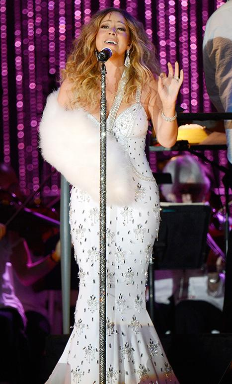 Mariah Carey Rocks Bedazzled and Feather Slings Following Dislocated Shoulder Injury