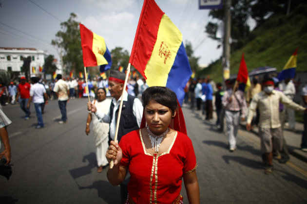 Supporters of pro-monarchy Rastriya Prajatantra Party take out a rally demanding that Nepal be declared a Hindu nation in Katmandu, Nepal, Monday, May 28, 2012. Nepal sank into political turmoil Monda