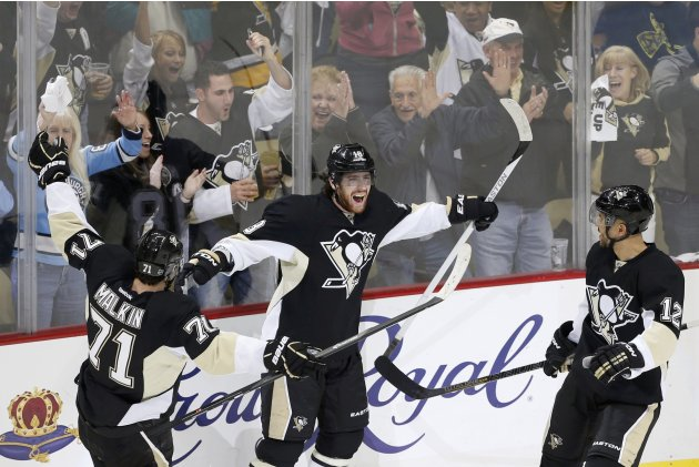 Penguins' Neal celebrates his third goal of the game with teammates during the third period in Game 5 of their NHL Eastern Conference semi-final hockey series against the Ottawa Senators in Pittsburgh