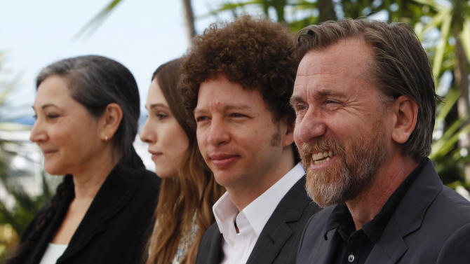 From right, actor Tim Roth, director Michel Franco, Sarah Sutherland and Robin Bartlett pose for photographers during a photo call for the film Chronic, at the 68th international film festival, Cannes, southern France, Friday, May 22, 2015. (AP Photo/Lionel Cironneau)