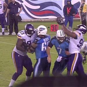 Tennessee Titans quarterback Zach Mettenberger fumbles, Minnesota Vikings defensive end Corey Wootton recovers