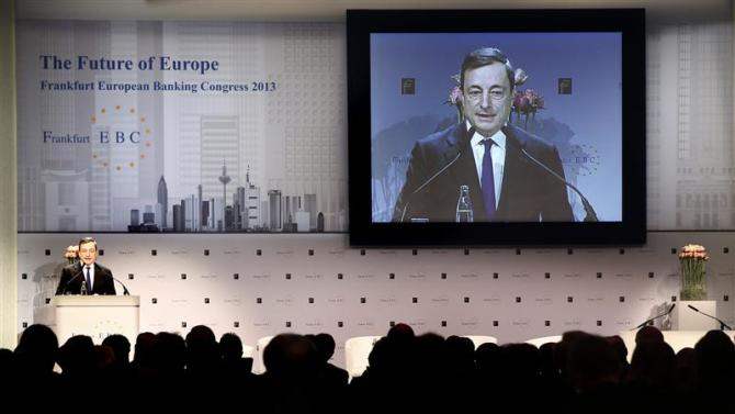 Draghi President of ECB delivers speech to European Banking Congress in Frankfurt