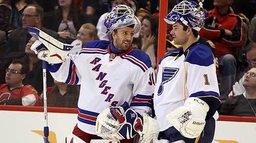 NHL goalies at All-Star Game: New York Rangers' Henrik Lundqvist and St. Louis Blues' Brian Elliott