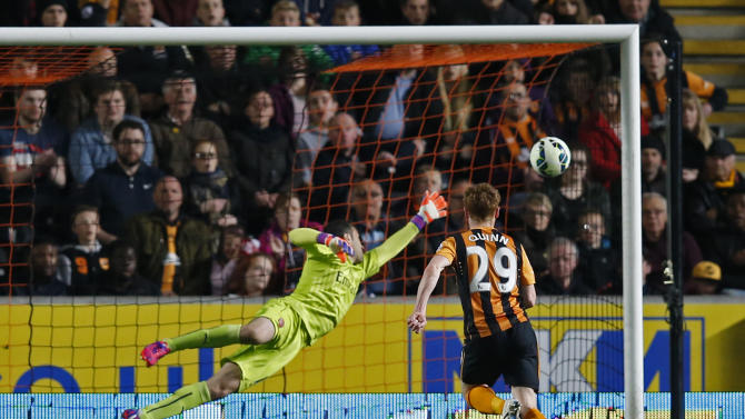 Football: Stephen Quinn scores the first goal for Hull City